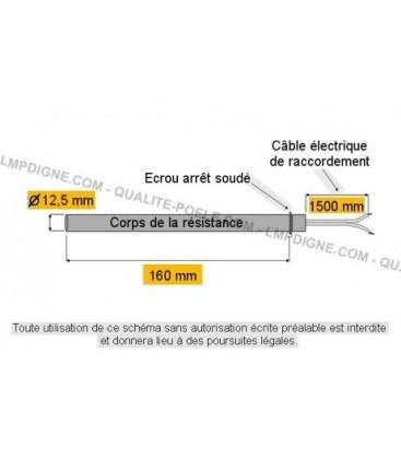 Résistance Poêles à granulés PALAZZETTI B lg 160 mm